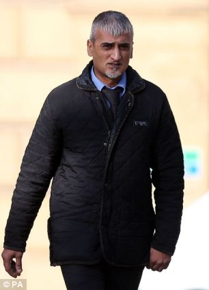 Aftab Khan arriving at Bradford Crown Court where Hutton is charged with the manslaughter of their son, Hamzah Khan