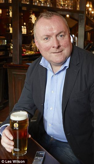 Political assassin: Damian McBride enjoying a tipple with the MoS at the Two Chairmen pub in Westminster, where he once briefed journalists