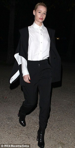Another show: Iggy changed into something more chic as she attended the Yohji Yamamoto show later that day