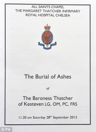 The cover of the order of service for the interment of the the ashes of former Prime Minister Baroness Margaret Thatcher