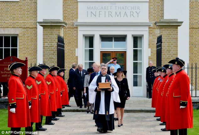 Service: Chelsea Pensioners formed a guard of honour as Baroness Thatcher's ashes were laid to rest in the cemetery of the Royal Hospital in Chelsea