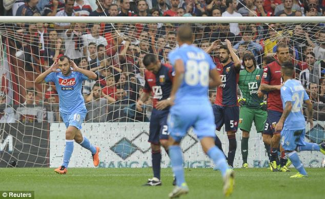 Back on top: Goran Pandev celebrates his winning goal for Napoli against Genoa