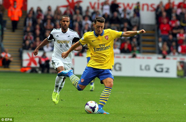 Artist: But Mesut Ozil was not at his best as Arsenal won the game