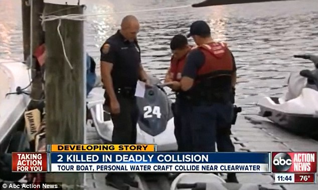 Accident: A couple in Florida died yesterday after their jet-ski collided with a tourist boat and authorities believe a game of chicken with another jet-skier caused the accident