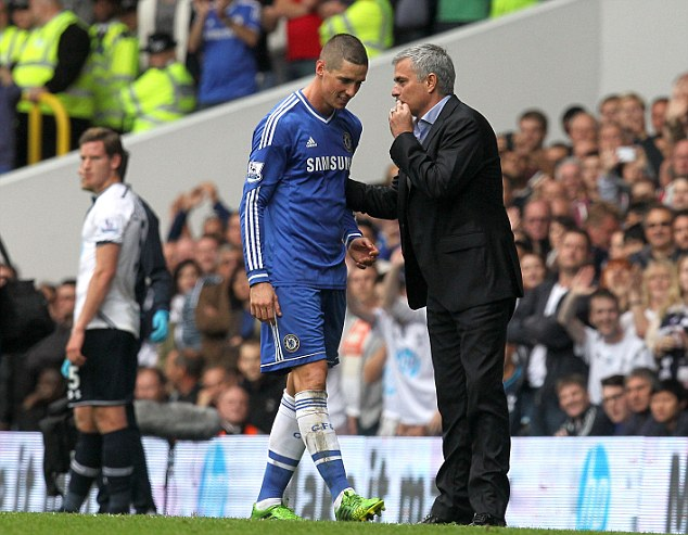 Goodbye: Chelsea boss Jose Mourinho speak to Torres as he leaves the pitch