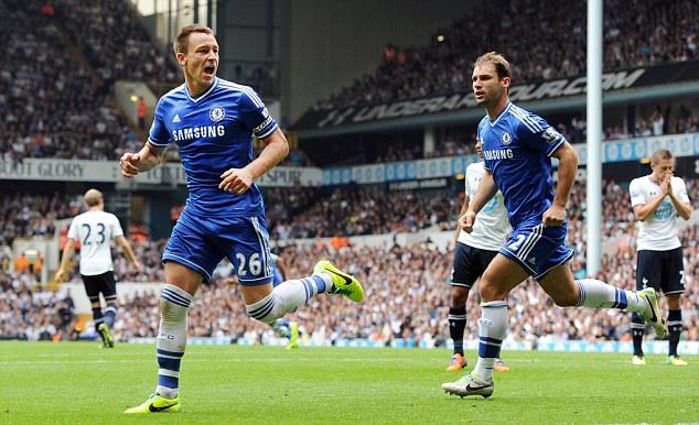 Equaliser: Terry celebrates his goal against Tottenham