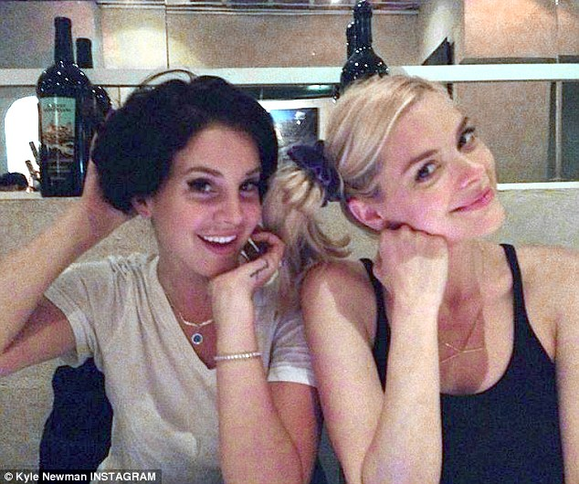 'Sisters!' Kyle uploaded this happy snap of pals - not actual sisters - Jaime and Lana Del Rey in September as the funny girls both posed with side ponytails