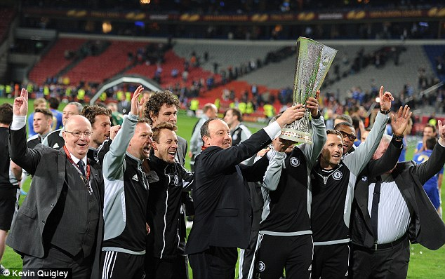 Some success: Benitez was victorious in the Europa League with Chelsea last term