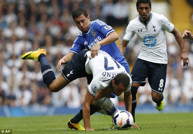 Knock: Hazard is thought to have been injured in a challenge with Kyle Walker at White Hart Lane