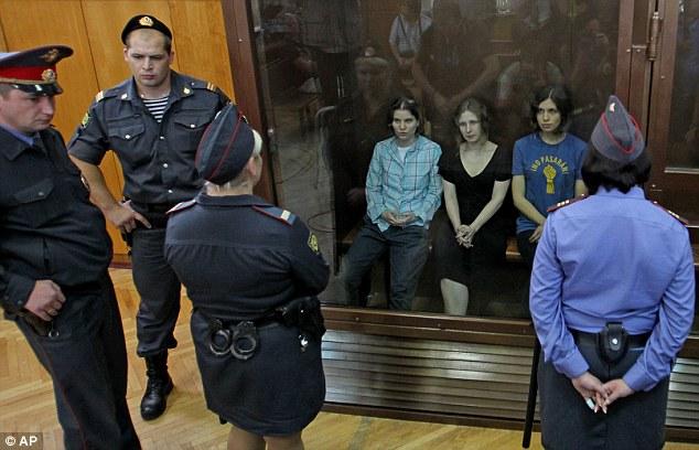Jailed: Nadia Tolokonnikova, right,