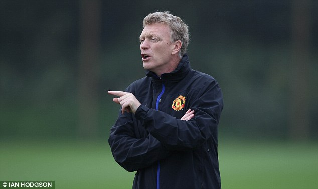 Laying out the plan: Moyes giving his instructions during training