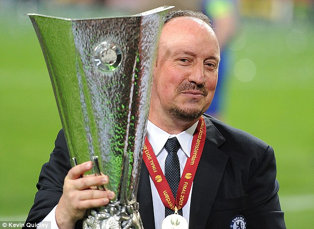 Mixed emotions: Benitez won the Europa League with Chelsea but was never accepted by the club's fans