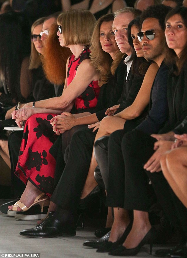 In with the in crowd: It was a star-studded front row turn-out for the Yves Saint Laurent spring/summer 2014 showcase