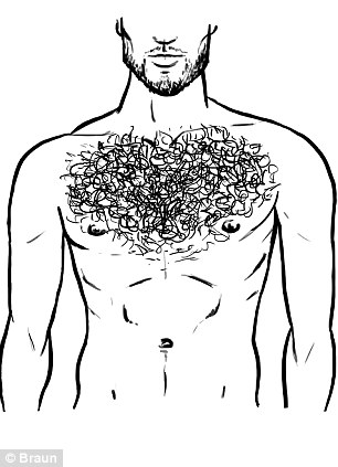 The top heavy: Just like Robbie Williams, these manscaping heroes rock a well-trimmed mat of hair on the top half of their chest but keep the stomach area smooth