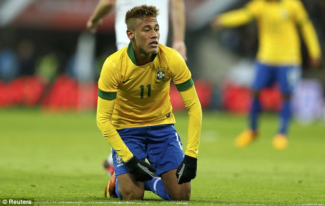 On his knees: Neymar struggled earlier in the year when Brazil visited Wembley