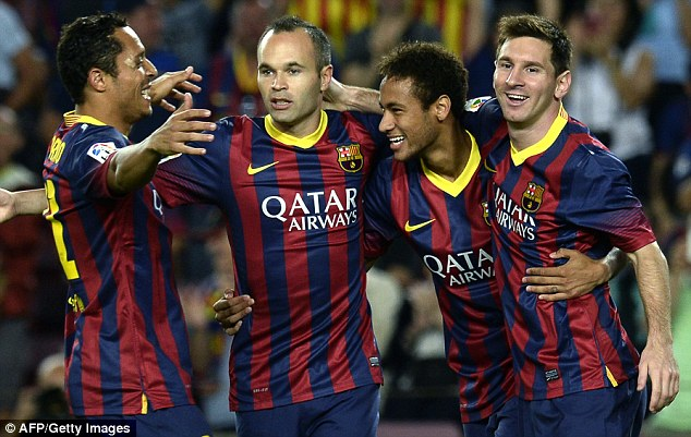 Supporting cast: Neymar has joined some of the world's elite at Barcelona - including Andres Iniesta, Adriano and Messi