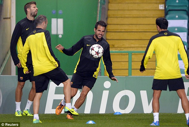 False nine? Cesc Fabregas is likely to play through the middle of Barca's front three