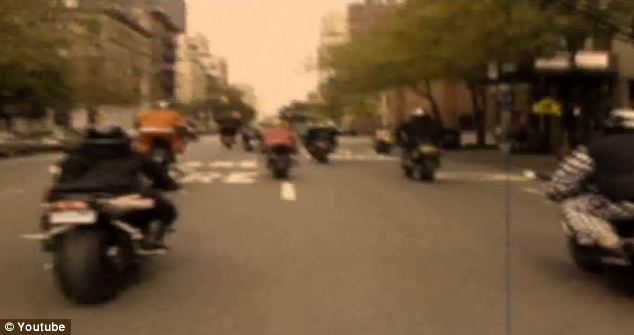 Living on the edge: One video, pictured, shows bikes riding through the streets and performing tricks