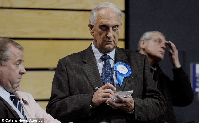Relief: Mr Brookes, pictured during the election results of the  north-east Lincolnshire local elections 2012, was delighted with the verdict