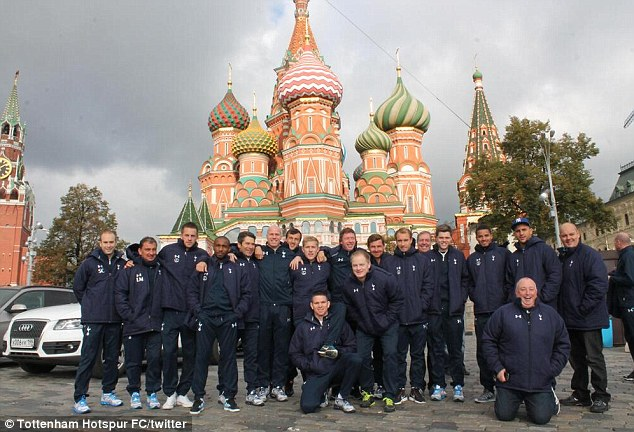 Seeing red: Spurs kept busy in Moscow, seeing sights such as St Basel's Cathedral in Red Square
