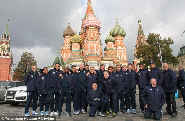 Happy camp: Tottenham are in Moscow ahead of their fixture away to Anzhi Makhachkala