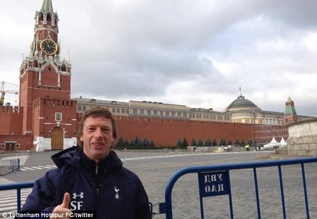 Passionate tourist: Steffen Freund was pictured outside of the Spasskaya Tower