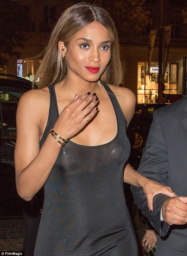 Getting things off her chest: Ciara's dress was particularly sheer around her chest area revealing her nipples