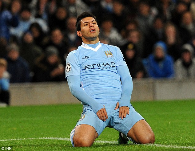 Not enough: Sergio Aguero reflects after City's 2-0 win proved futile after Napoli beat Villarreal in Spain