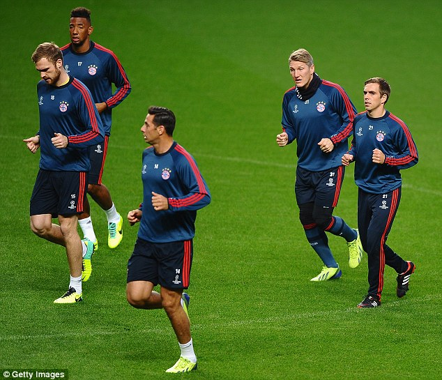 Swagger: Bayern arrived in Manchester on Tuesday having beaten Wolfsburg at the weekend