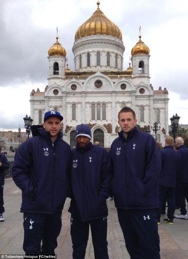 High praise: In form Spurs Kyle Walker, Jermain Defoe and Gylfi Sigurdsson at Cathedral of Christ the Saviour