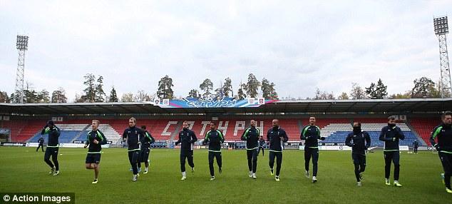 Line-up: Tottenham training at Saturn Stadium, Ramenskoye, the neutral venue where they'll play Anzhi
