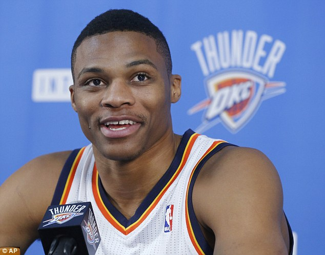 Superstar: Russell Westbrook will not be on show for Oklahoma City in Manchester due to injury