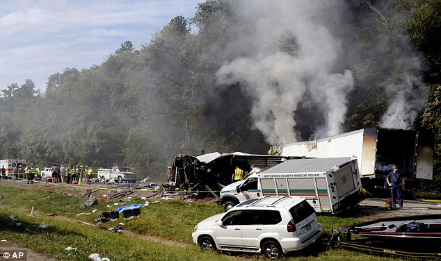 Tragedy: The church bus blew out a tire and hit a tractor trailer rig, which burst into flames