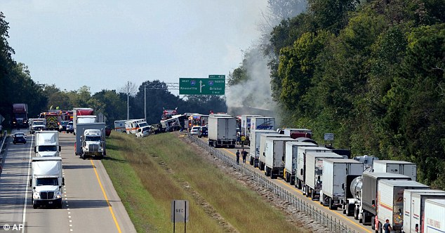 Backed up: The crash halted traffic on I-40 throughout Jefferson County, forcing thousands of drivers to find different routes through the heavily-traveled corridor