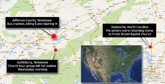 Cross-country: The bus crashed about 140 miles east of the destination, Front Street Baptist Church in North Carolina