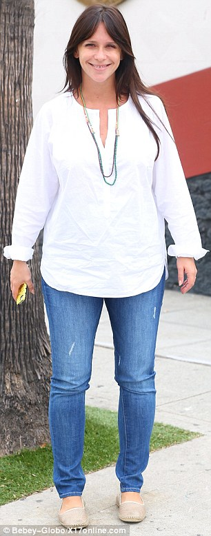 Radiant: The heavily pregnant star also went make-up free, letting her pregnancy glow shine through