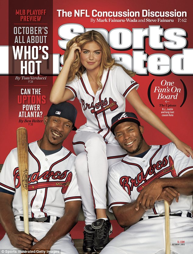 Historic: Kate Upton ditches the bikini for a baseball uniform as she becomes the first model ever to grace the weekly cover of Sports Illustrated