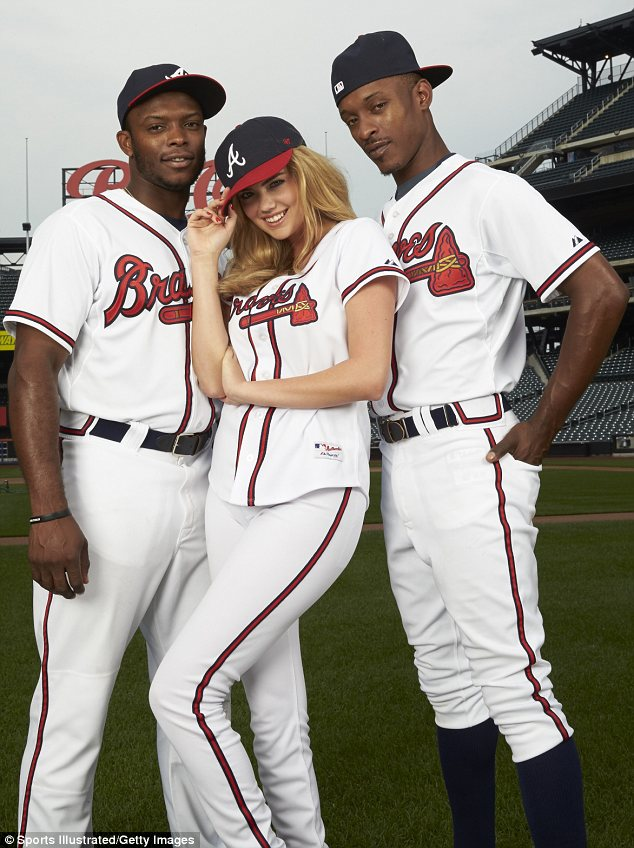 The three Uptons: Kate joins Atlanta Braves brothers Justin Upton and B.J. Upton, who she jokes are long lost cousins, for the magazine¿s Major League Baseball Playoffs preview