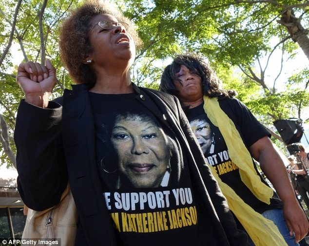 Passionate: Katherine Jackson's supporters were out in force for the AEG Jackson trial verdict in Los Angeles on Wednesday