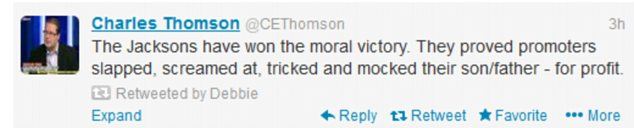 Support: Both Debbie Rowe and Taj Jackson retweeted this tweet from court reporter Charles Thomson