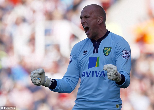 Stalwart: John Ruddy has put in the hours for Norwich to become a solid Premier League goalkeeper