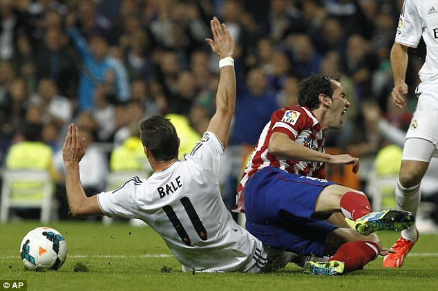 Down: Bale came on as a substitute against local rivals Atletico Madrid last weekend