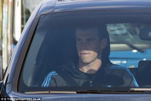 Stricken: Gareth Bale was at a Madrid hospital on Wednesday to have a scan on his thigh