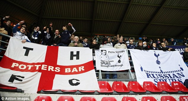 Loyal support: A few hundred Spurs fans made the the long journey to Russia for the match