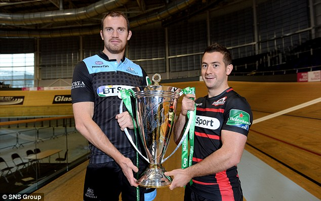 Blunder: Kellock (left) and Laidlaw with their BT Sport logos in full view