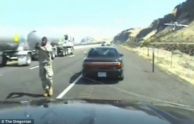 Dramatic: But he ignores the trooper and suddenly pulls out a gun and walks towards him, shooting