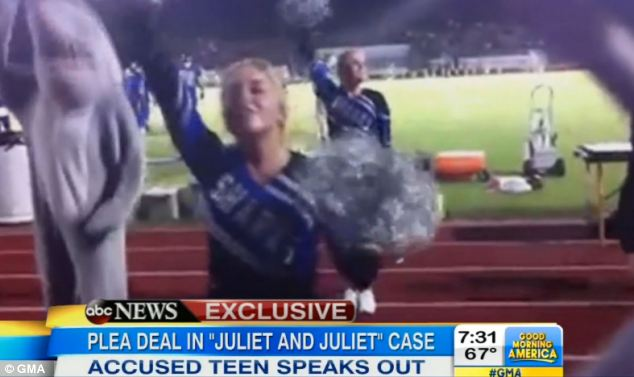 Former life: Another image shows Hunt cheerleading at her school, where she met the younger teen