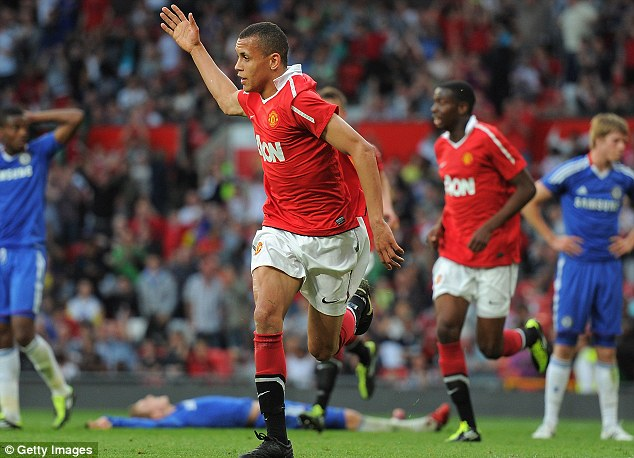Happier times: Morrison did enjoy some better moments at Old Trafford, such as this goal against Chelsea in the FA Youth Cup