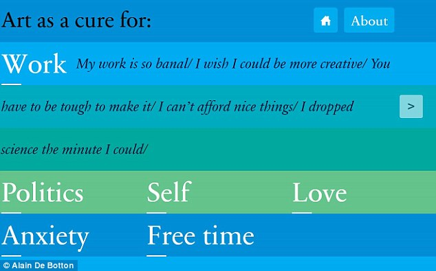 A user can choose a category on the Art as Therapy web app, pictured that is worrying them, such as work, love or politics,