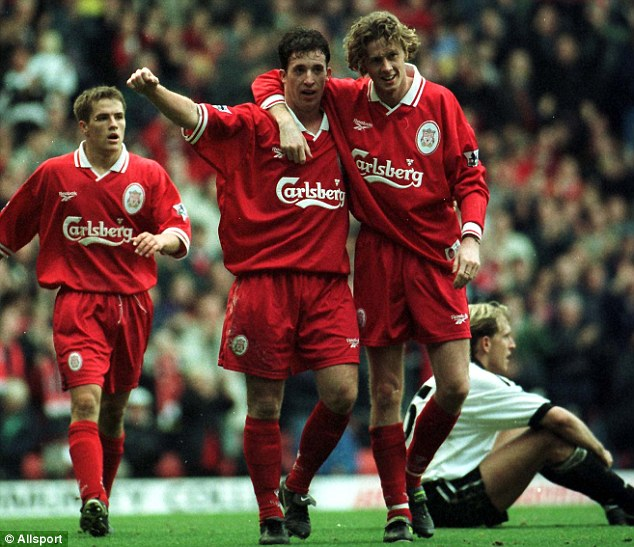 Returned: Fowler (centre) and McManaman (right) have been given mentor roles at Liverpool's academy